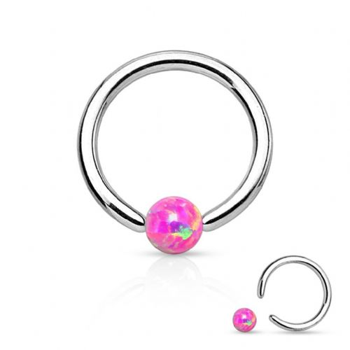 Captive Bead Ring with Pink Opal Ball Surgical Steel